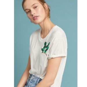 Anthropologie Tiny Embroidered Cactus Tee